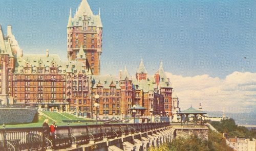 A postcard view of Québec's Château Frontenac dated 1958, the year my parents honeymooned there.
