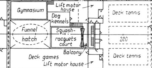 Original plan of the Queen Mary's Sports Deck (detail of the area below the second funnel, forward to just behind the first funnel)