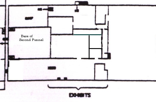 Plan of the moored Queen Mary's Sports Deck, from just behind the second funnel to just behind the first funnel