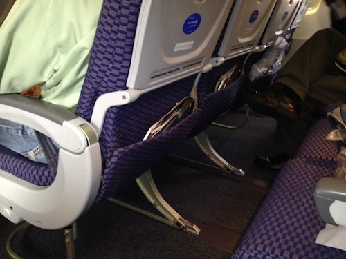 These are the under-seat spaces for Seats 19D, E, and F.