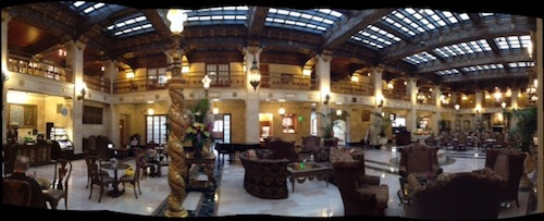 A panorama of the Hotel Davenport lobby
