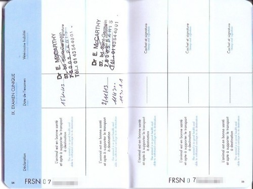 Pp. 24-25, showing Chloe's two exams and verifying that she was in good health