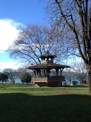 This lovely gazebo is in a park just above English Bay Beach, and just downhill from the end of the #5 bus route.