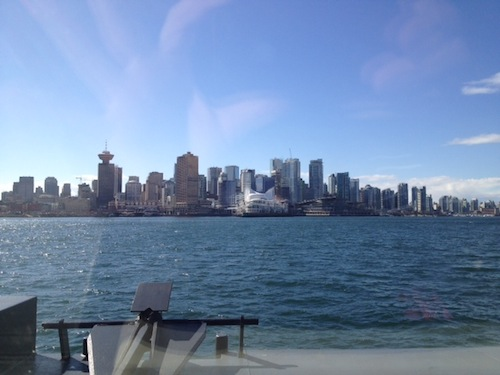 A view of downtown Vancouver from the SeaBus — other pictures I took, even more flawed than this one, included Stanley Park on the right, and a goodly chunk of East Vancouver on the left. Bad photos, beautiful views.