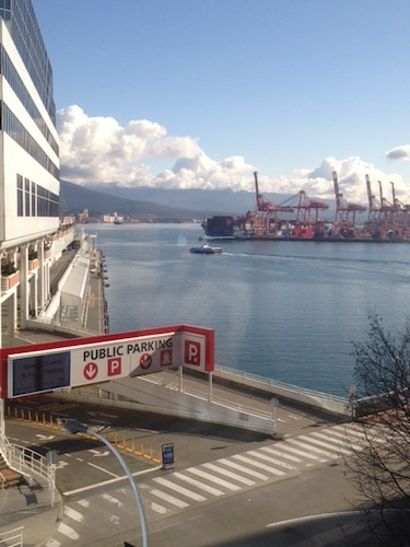 The view out our window — Canada Place and the Pan Pacific directly across the street, Coal Harbor and the hills of North Vancouver, the SeaBus heading off on a run to Lonsdale Quay