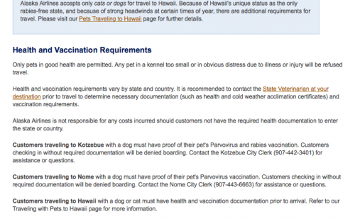 Alaska Airlines now requiring a health certificate for all pets ...