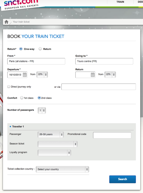 Buying a TGV train ticket, making a reservation for your pet