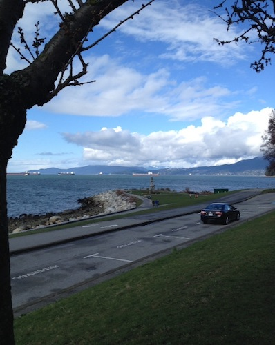 The view out to English Bay from Beach Ave. (waiting for the #C21 bus)