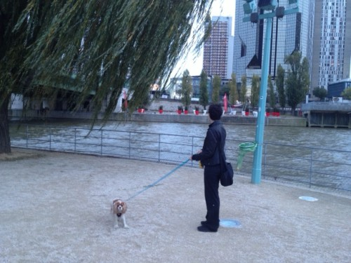 Chloe and me, just below the statue, looking southeast across the river