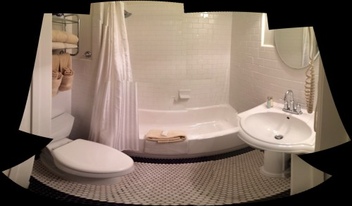 One of my beloved panorama shots of the bathroom — here, despite distortions, to show you how clean and well-appointed it was. Also, thumbs-up for the water pressure.