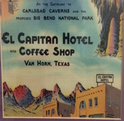 A vintage postcard of El Capitan, hanging in one of the hallways. That sign on top has been restored, and welcomed us as at the end of a long, dark road.