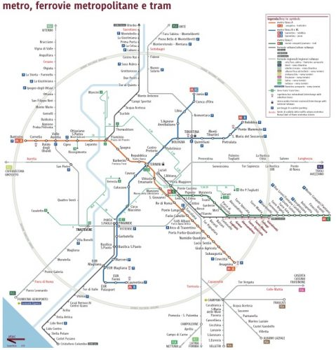 Metro and regional train map