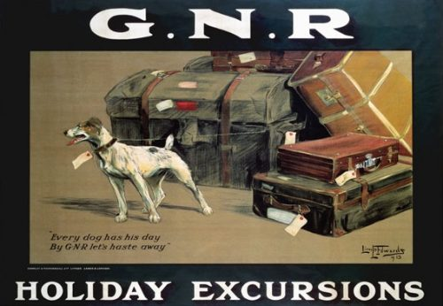 All wrong, of course, because the ad is for the Great Northern Railway (dissolved in 1923), and that pup is not in a carrier, but still! Train travel with small pet dogs!