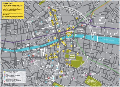 Key bus lines in Dublin's core